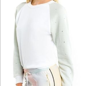 NWT Wildfox Rhinestone Raglan Sleeve Sweatshirt L